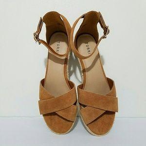 torrid Shoes - Torrid Suede Criss Cross Espadrille Sandals 11W